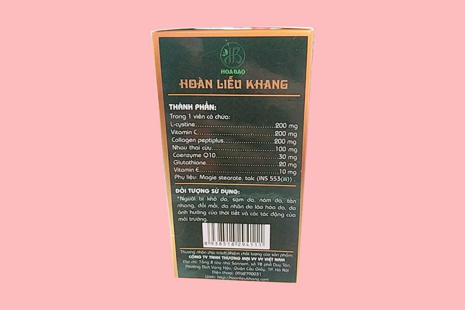 Thành phần viên uống Hoàng Liễu Khang