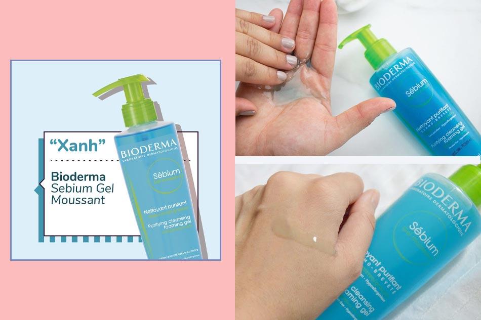 Sữa rửa mặt cho da hỗn hợp, da dầu mụn: Bioderma Gel Moussant màu xanh