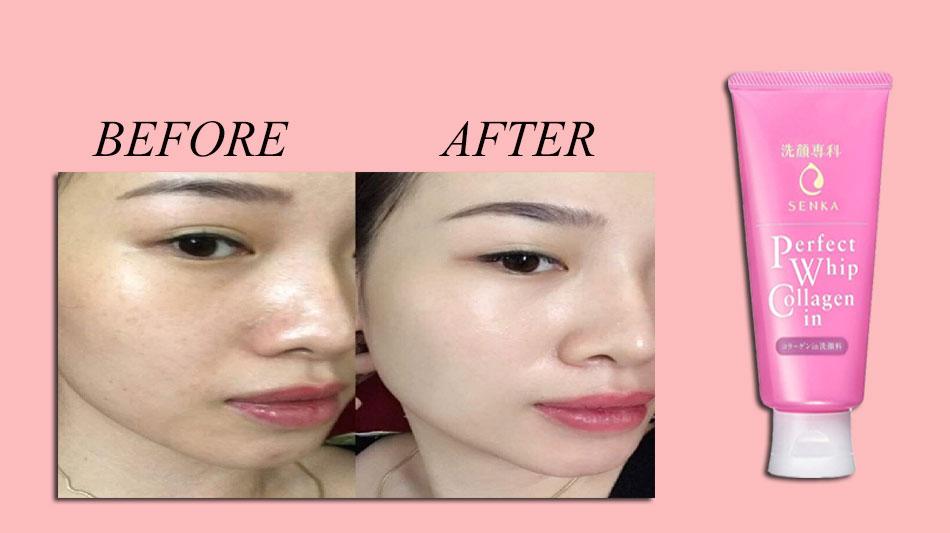 Sữa rửa mặt dành cho da khô, lão hóa màu hồng Senka Perfect Whip Collagen In