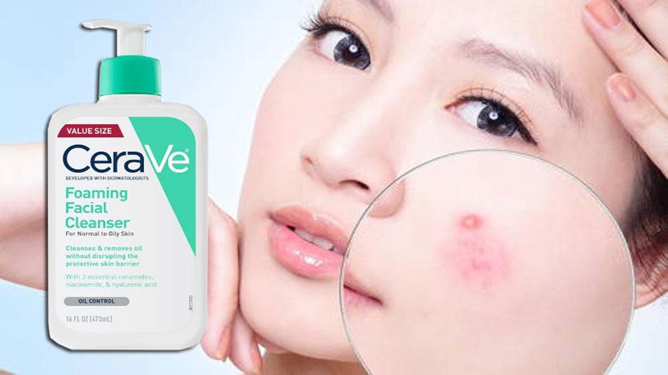Dùng sữa rửa mặt CeraVe Foaming Facial Cleanser có nổi mụn không